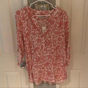 Ann Taylor Loft coral print tunic